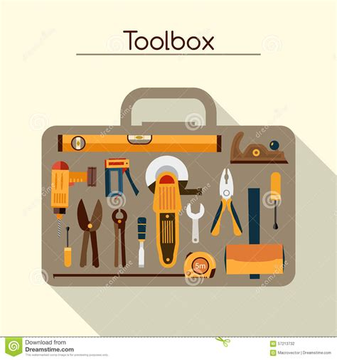 design concept of a powered hand tool toolbox with tools stock vector image 57213732
