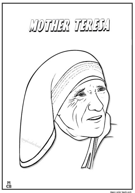 mother teresa coloring page coloring pages