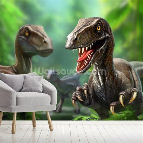 dinosaurs raptors wallpaper mural wallsauce de