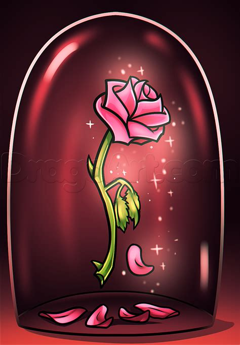 rose in beauty and the beast beauty and the beast rose drawing step by step disney