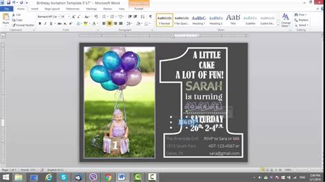 how to make a birthday card on microsoft word 2007 1st birthday invitation template for ms word
