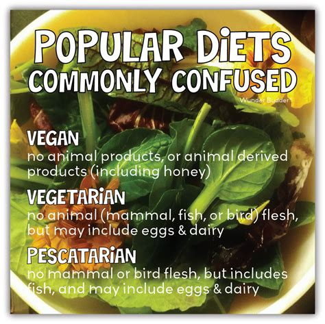 adventures of wunder budder popular diets commonly confused vegan vegetarian pescatarian