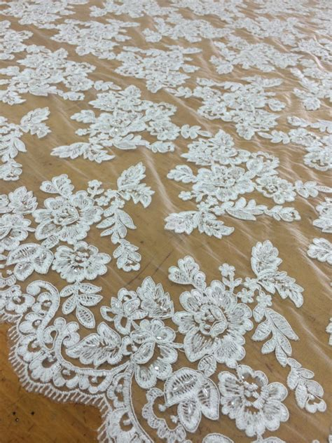 beaded lace fabric by the yard white beaded lace fabric by the yard lace alencon