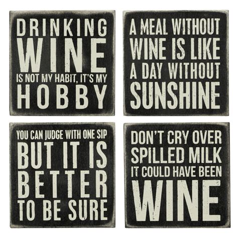 Home Decor Wooden Signs Sayings by Wine Box Sign Coaster Set Primitives By Kathy