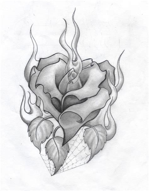 hearts with roses tattoos and roses drawings and