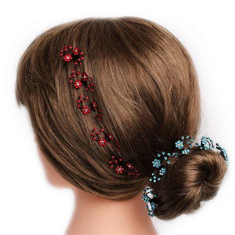 Hair Clip Mini Fuschia Clip 6 מוצר 6pcs pack mini headwear rhinestone bridal hair