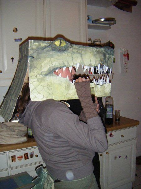 How To Make A Crocodile Mask Out Of Paper - crocodile costume made with a cardboard box go to http