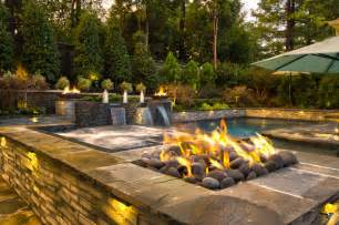 Fire Pit On Pavers - collierville modern geometric pool spa amp outdoor living design