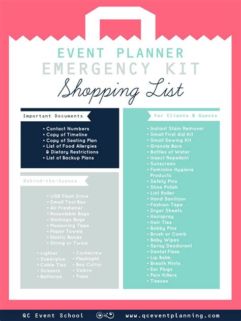 Wedding Planner Kit by Event Planner Emergency Kit Infographic Scheduled Via