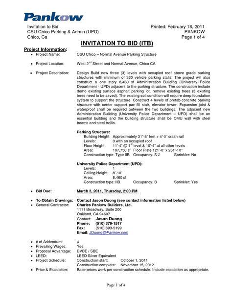 to bid invitation to bid letter template exles letter