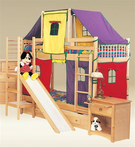 kids bunk beds with slide birch natural play twin warmojo com