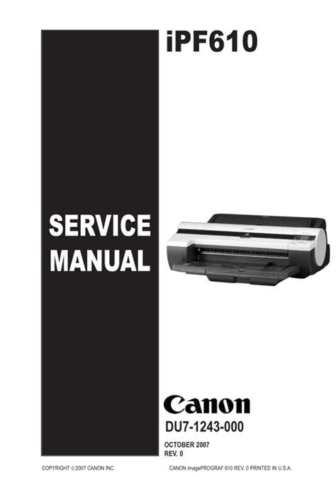 canon service canon ipf610 service manual