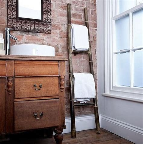 bathroom decorating with old ladder vintage ladder holding towel bathroom