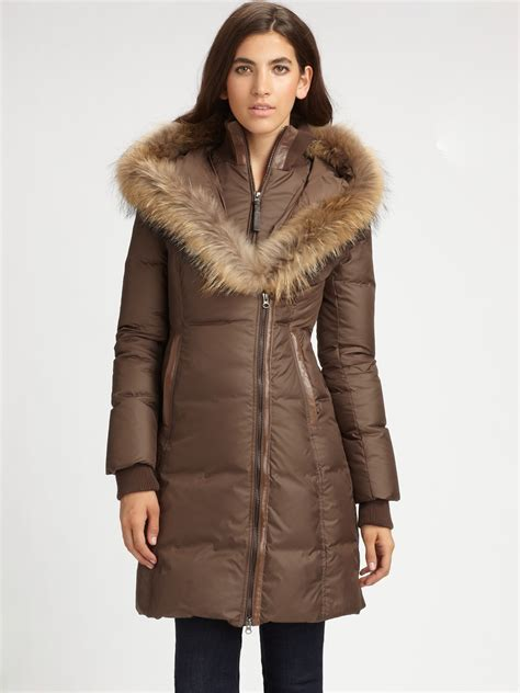 Quilted Fur Coat by Mackage Fur Trimmed Quilted Coat In Brown Black Lyst