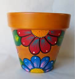 Pot Designs by Pottery Hand Painted Flower Pot Rustic Flower Pot