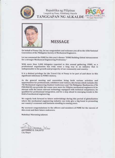 Endorsement Letter For Dole 65th Psme National Convention 2017 Philippine Society Of Mechanical Engineers