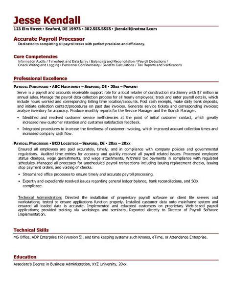 Free Payroll Processor Resume Example
