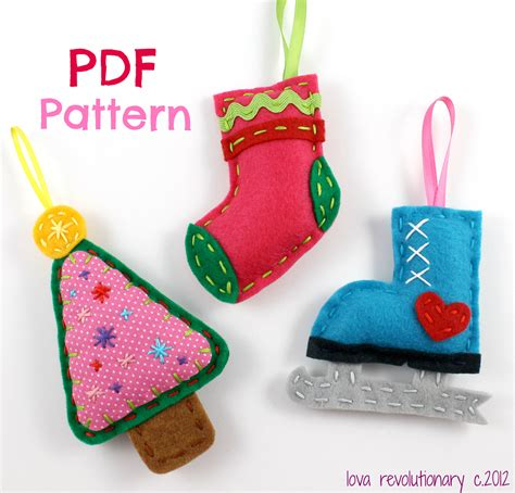 christmas ornaments pdf pattern felt ornaments digital