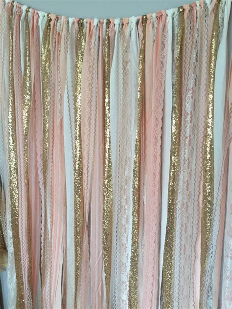Gold And Pink Curtains Pink Gold Sparkle Sequin Fabric Backdrop With Lace