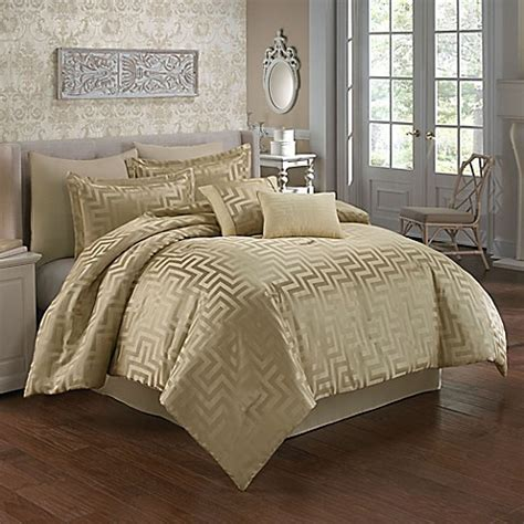 Waves Comforter Set In Beige Bed Bath Beyond Bed Bath Beyond Comforter Sets