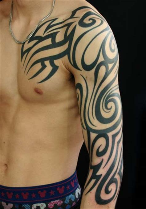 japanese tribal sleeve tattoos shoulder tribal sleeve by studio