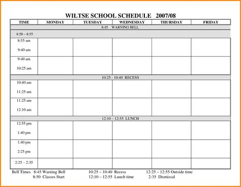 timetable schedule template 5 blank school timetable global strategic sourcing