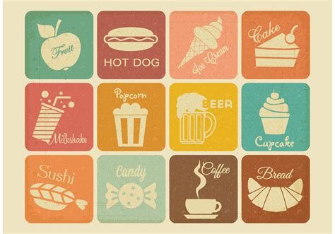 food vector retro drink and food vector icons free vector