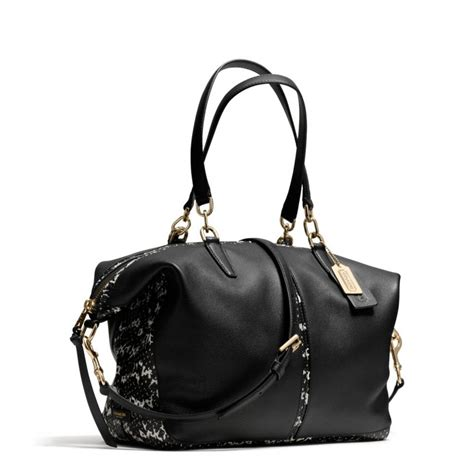 Coach Sulvian Emboss Black lyst coach bleecker cooper satchel in two tone python embossed leather in black