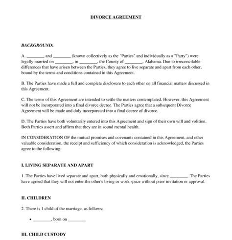 divorce agreement template canada divorce agreement sle template word pdf
