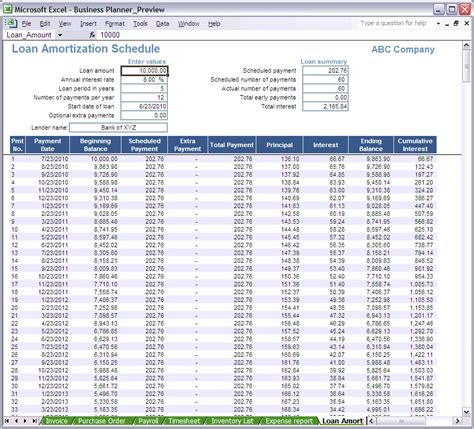 excel business planner loan amortization schedule
