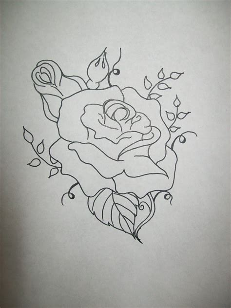 rose pattern tattoo simple stencil www imgkid the image