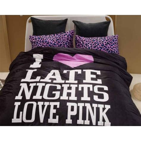 love pink bed set i love late nights pink duvet cover