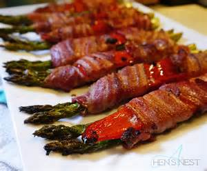 oven baked bacon wrapped asparagus and red pepper bundles