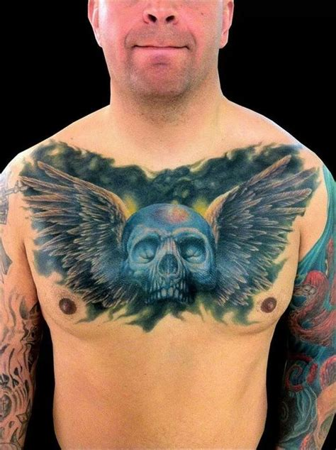 skull chest tattoos for men awesome winged skull chest for tattooshunt