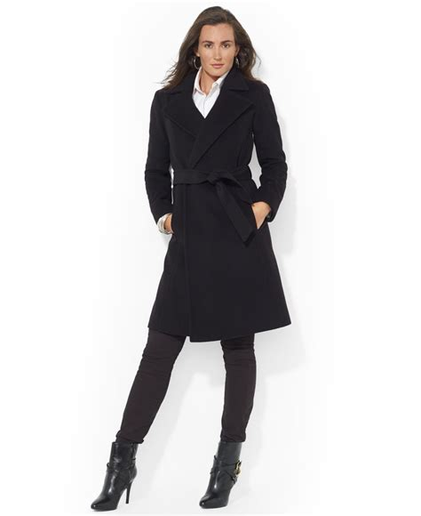 Wool Blend Wrap Coat lyst by ralph wool blend belted