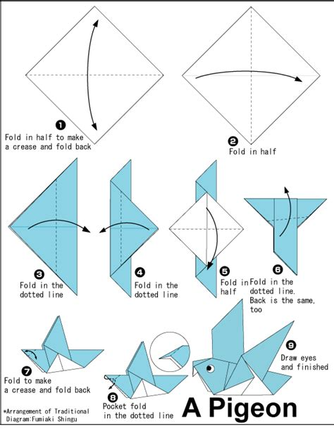 Origami Club Crane - easy origami dove printable origami for