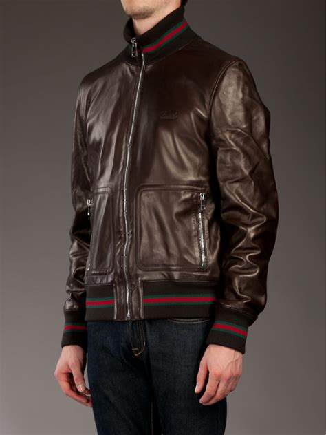 Guc Ci Leather Brown gucci leather jacket in brown for lyst