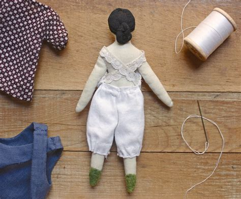 Handmade Doll Pattern - a wardrobe for miss dahlia progress on the tiny rag doll