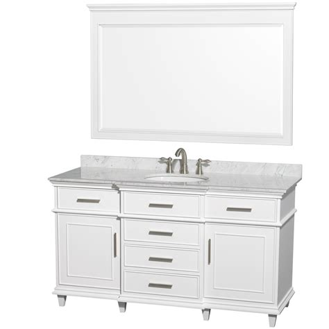 Bathroom Vanities Single Sink Ackley 60 Inch White Finish Single Sink Bathroom Vanity Cabinet