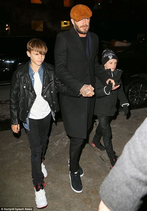 Ralph Exploits Beckham Children by Beckham Displays Lean Legs In Stylish Monochrome
