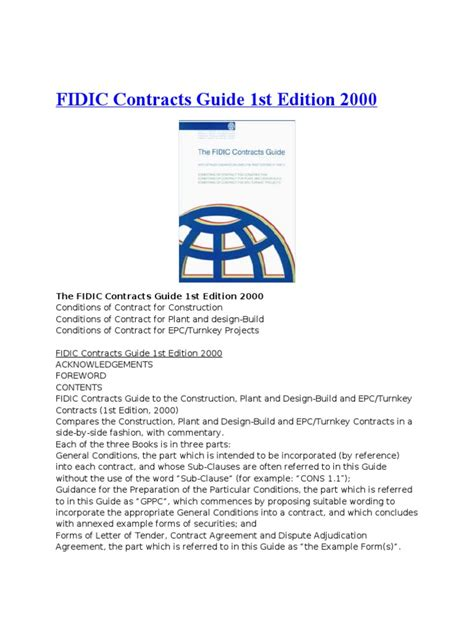 fidic design and build contract free download fidic contract books general contractor adjudication
