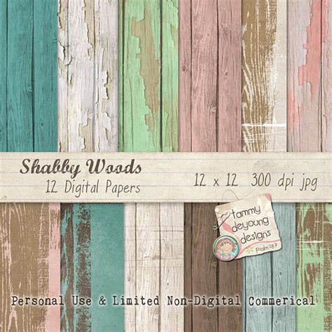 wood digital papers shabby wedding chic colors by