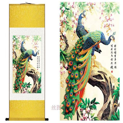 silk peacock home decor home decor silk chinese traditional watercolor flower and bird painting lucky peacock decorative