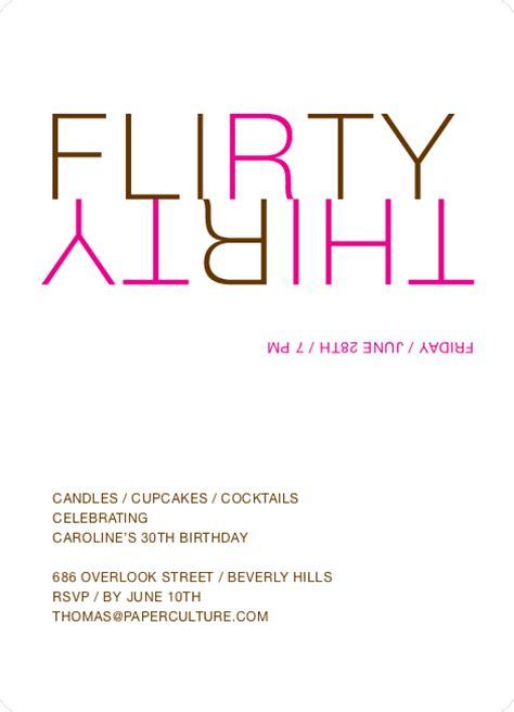 Flirty 30 Birthday Quotes Flirty Thirty 30th Birthday Invitation Paper Culture