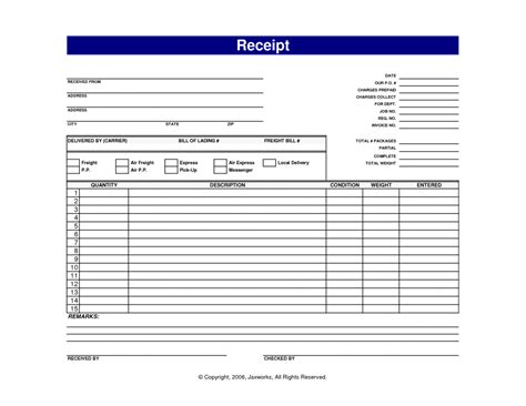 ticket receipt template blank receipt template with blue text color sle