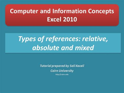 excel tutorial by sali kaceli excel 2010 tutorial types of references absolute