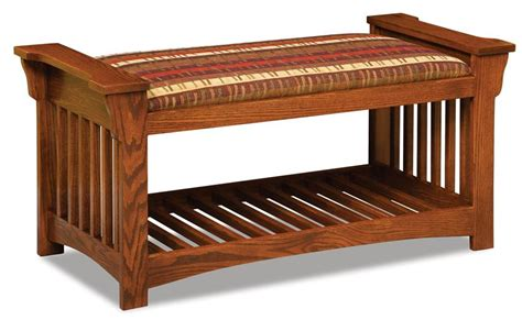 mission style bench amish upholstered slat mission bench with optional baskets