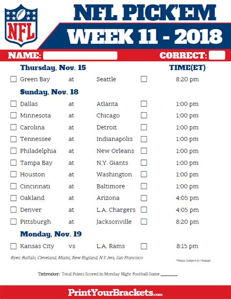 printable nfl schedule for week 2 nfl football predictions week 12 2018