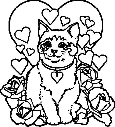 coloriage de chaton a imprimer az coloriage coloriage de chat avec des coeurs et des fleurs
