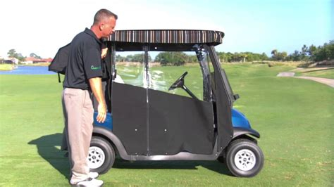 club car rain curtains easy roll retractable golf cart enclosure youtube